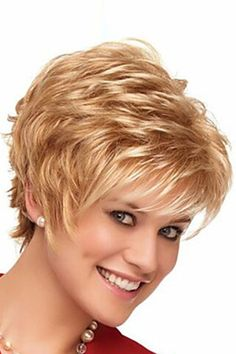 Women Blonde European Fashion Synthetic Short Wavy Wig - One Size Short Choppy Hair, Short Hair Wigs, Short Hair With Layers, Short Wavy, Cute Hairstyles For Short Hair, Short Hair Cuts For Women, Wig Hairstyles, Curly Hair Styles, Layered Hairstyles