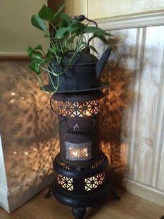 Little Oil Heater Repurposed. Little+Oil+Heater+Repurposed… Oil Stove, Oil Heater, Kerosene Heater, Antique Stove, Vintage Stove, Farmhouse Lamps, Globe Decor, Milk Cans, Furniture Makeover