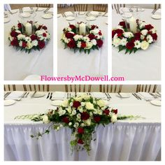 Hurricane candle table arrangements and top table