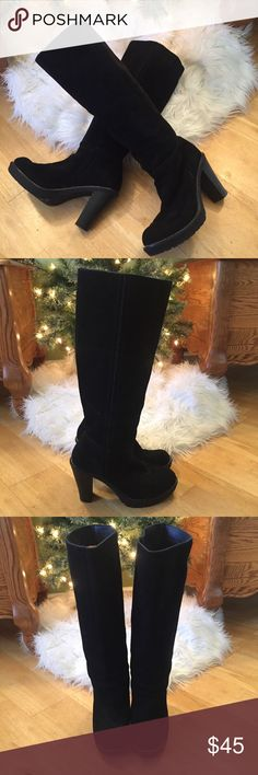 """Envy Suede Boots Envy Katima Suede Leather Pull-On Boots. EUC. 3.5"""" Heels. Beautiful Stitching. Rubber Soles with Tread. Great for Winter & Cold Weather. Envy Shoes Heeled Boots"""