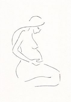 Pregnancy illustration line art. Minimalist nude sketch by Siret Roots.