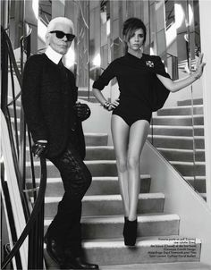 Victoria Beckham and Karl Lagerfeld for Elle France #Celebs #Fashion