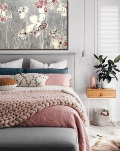 14 Trendy Bedroom Design and Decor Ideas for Your Next Makeover - The Trending House Bedroom Paint Colors, Gray Bedroom, Trendy Bedroom, Bedroom Wall, Diy Bedroom Decor, Bedroom Furniture, Home Decor, Bedroom Ideas, Painting Bedrooms