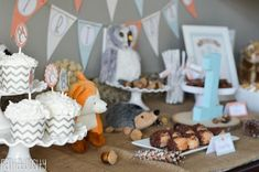Woodland Friends First Birthday Party Dessert Table - http://fantabulosity.com