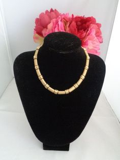 "Trifari Goldtone Bamboo Choker 16"" with Extender for Necklace.  See more photos on our store at  www.CCCsVintageJewelry.com And to learn more about Trifari and their quality materials please check our our blog at www.CCCsVintageJewelryBlog.com Have a blessed day! Coco"