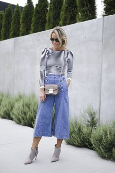 RIGHT WITH YOU - stripes, denim culottes