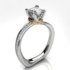 Platinum organic diamond ring with side diamonds and yellow gold accent #wedding #engagement #diamond
