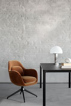 The Swoon Chair reflects Space's intuitive approach to design, which is inspired by circumstances and the human condition. Copenhagen Design, Space Copenhagen, Home Furniture, Furniture Design, Lounge Areas, Swivel Chair, Dining Chairs, Interior Design, Restaurant
