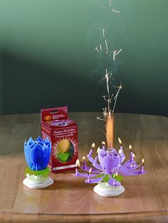 When lit, the lotus flower unfurls and mini candles rotate to the sound of Happy Birthday - Musical Flower Birthday Candle | $8.99