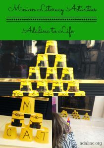 Fun Early Literacy Activities to help kids learn the alphabet, sight words and spelling. Also reuse cups to create little minions. Spelling Help, Spelling Games, Spelling Activities, Craft Activities For Kids, Literacy Activities, Science Experiments Kids, Science For Kids, Early Learning, Kids Learning