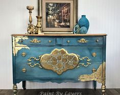 Victorian Dresser Antique Dresser Buffet Turquoise and Gold Leaf Furniture, Funky Furniture, Paint Furniture, Furniture Projects, Furniture Makeover, Vintage Furniture, Gold Painted Furniture, Turquoise Furniture, Floral Furniture
