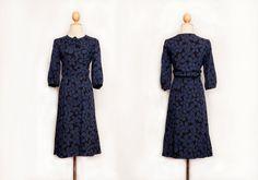 Navy blue dress   Floral dress   Oriental dress   Button up dress   50s 60s 70s dress   M Size dress   Party dress   Winter dress   Sundress by VintageCosmopolitan on Etsy