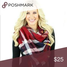 """SALE!! Only 1 left!! Red Blanket Scarf!! Plaid Blanket Scarf. 70% Acrylic 39% Wool. 55"""" X 55"""" Length. Accessories Scarves & Wraps"""
