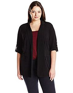 Calvin Klein Women's Plus-Size Roll-Sleeve Top Jacket with Hardware