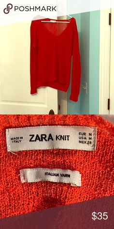Zara Italian Yarn Knit Pullover A very stylish and versatile pullover. The tags says medium but it could fit a large or small depending on how you want it to fit. A beautiful candy apple red and would look super cute over a dress or with jeans. Next day shipping guaranteed!! Zara Sweaters