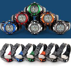 Fashion Children Watches Dual Time LED Digital Quartz Multifunctional 30m Waterproof Swim Student Sports Watch