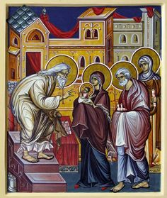 The Presentation of Christ in the Temple by Inna Strelley Life Of Christ, Jesus Christ, Blood Brothers, Byzantine Icons, Holy Mary, Blessed Virgin Mary, Holy Family, Orthodox Icons, I Icon