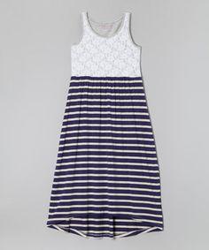 Look at this #zulilyfind! Heather Gray & Indigo Stripe & Lace Maxi Dress - Girls by Design History #zulilyfinds