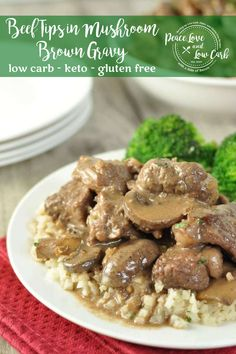 These Low Carb Beef Tips in Mushroom Brown Gravy are tender and delicious and the pan sauce makes a fantastic gravy for cauliflower mash. Beef Tips, Beef Recipes, Real Food Recipes, Great Recipes, Dinner Recipes, Yummy Recipes, Lunch Recipes, Dessert Recipes, Favorite Recipes