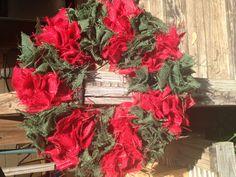 $50 Christmas red green burlap wreath