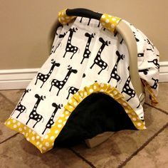 Boy carseat canopy  giraffe yellow and black by LopellaDesigns, $50.00