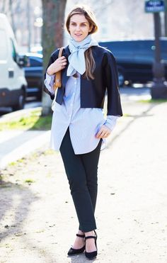 Gaia Repossi wears a button-down shirt, cropped leather jacket, scarf, skinny pants, and Mary-Jane heels