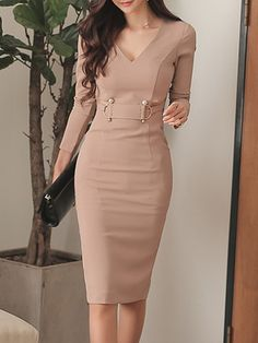 V-Neck Beading Decorative Hardware Plain Bodycon Dresses – wanokitty accessories dress style dresses dress outfit fa Stylish Dress Designs, Stylish Dresses, Elegant Dresses, Cute Dresses, Casual Dresses, Elegant Outfit, Classy Dress, Classy Outfits, Beautiful Outfits