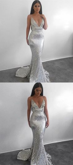 modest silver mermaid sequined prom dresses, simple deep v neck backless party dresses, unique spaghetti straps evening gowns