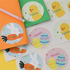 These Personalized Easter Stickers are so cute! They have Easter Eggs, Easter Bunny & Chicks design at PersonalizationMall! These would be cute to decorate eggs with! #Easter #Bunny #EasterEggs