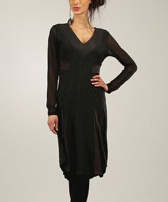 Another great find on #zulily! Anthracite & Black Color Block V-Neck Dress #zulilyfinds