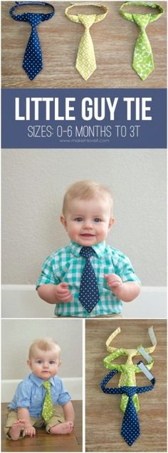 Sewing for baby - DIY gifts for babies - how to make a little boy tie - easy sewing projects Baby Sewing Projects, Sewing Projects For Beginners, Sewing Hacks, Sewing Crafts, Sewing Tips, Sewing Ideas, Sewing Tutorials, Scrap Fabric Projects, Knitting Projects