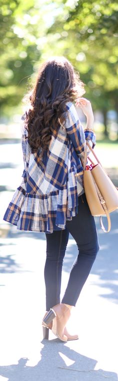 Plaid with ruffle detail.