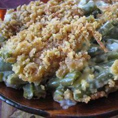 From-scratch green bean casserole. Remember to read the comments before making. Follow user comments to improve recipe like using fresh beans rather than canned.