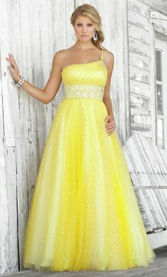 Yellow Cheap Prom Dresses 64