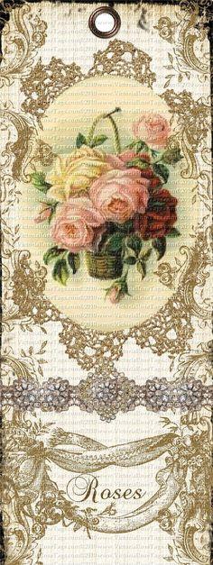 Antique Style Shabby Grunge Bookmark Rose Basket You Print