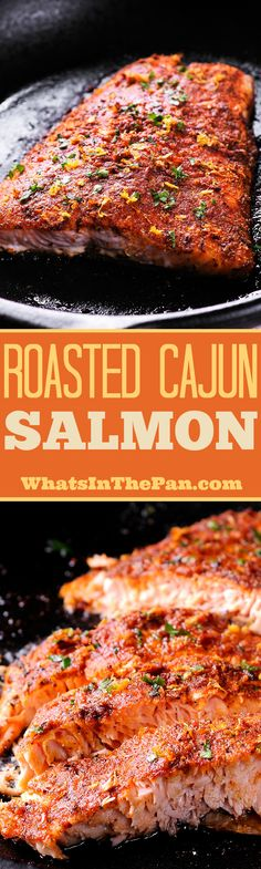 Easy Roasted Cajun Salmon is nutritious and tasty! Topped with a yummy Creole seasoning mixture, lemon zest and Paprika, this amazing salmon recipe is low in calories and carbs, healthy and delicious and you can have this simple oven roasted dinner on the table in 30 minutes! #salmon #easydinner