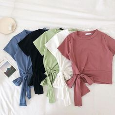 Crop Top Outfits, Cute Casual Outfits, Stylish Outfits, Summer Outfits, Girls Fashion Clothes, Teen Fashion Outfits, Cute Fashion, Korean Fashion Dress, Ulzzang Fashion