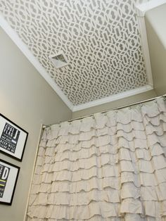 Wallpaper Ceiling - trellis design wallpaper on the ceiling in a small bathroom.  Looks great!