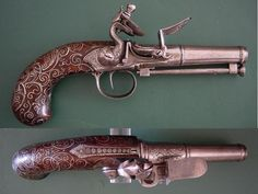Love the rose-copper finish on this flintlock pistol.