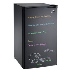 Write grocery lists, reminders, and the occasional love note on Igloo's Eraser Board mini refrigerator in black; $100 | archdigest.com