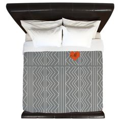 Custom Grey Cream Arrowheads Stitch Pattern King Duvet on CafePress.com