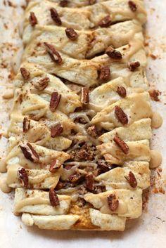 Pumpkin Pecan Streusel Breakfast Braid with Maple Brown Sugar Glaze