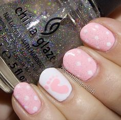 Gotta try this in blue. Baby Nail Art, Baby Girl Nails, Girls Nails, Cute Nail Art, Beautiful Nail Art, Love Nails, How To Do Nails, Fun Nails, Pretty Nails