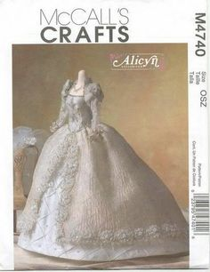 Alicyn Exclusives Beautiful Barbie Bridal Gown Pattern Fashion Doll Clothes Sewing Pattern McCalls 4740 by Pattenr Gate Sewing Doll Clothes, Sewing Dolls, Doll Clothes Patterns, Doll Patterns, Clothing Patterns, Barbie Sewing Patterns, Mccalls Patterns, Barbie Et Ken, Barbie Doll