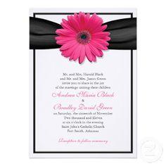 9d7f4a9ff91 Pink Gerbera with Black Ribbon Invitation Pink Gerbera