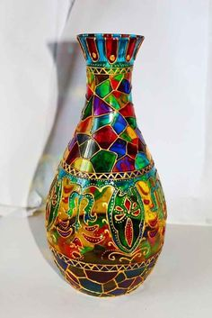 Resultado de imagen para stained bubbly glass bottles (painted)