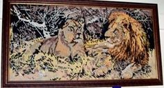 Lions tapestry Lion Tapestry, Lions, Folk Art, Painting, Lion, Popular Art, Painting Art, Paintings, Paint