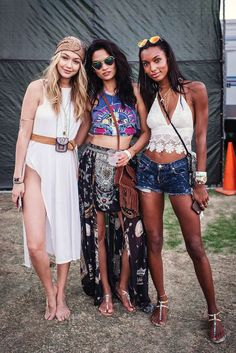 Gigi Hadid, Shanina Shaik & Jasmine Tookes giving us the best festival outfit inspo. Visit Daily Dress Me at dailydressme.com for more inspiration boho chic, festival outfits, coachella, models, crop tops, midi skirts, festivals