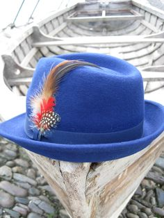Parisian wool cobalt blue Trilby with feather detail. £29 www.danielli.co.uk