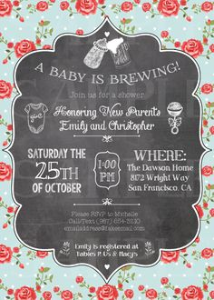 "Co-Ed baby shower invitation! Baby & Beer theme, ""A baby is brewing!"" $12 on Etsy at www.etsy.com/shop/thiswiddlepiggy."